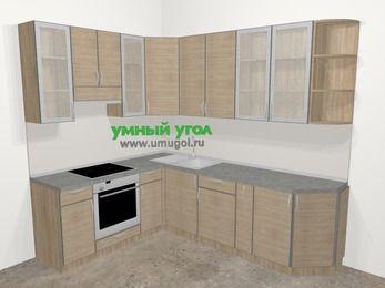 Кухни пластиковые угловые в стиле лофт 6,8 м², 190 на 250 см, Чибли бежевый, верхние модули 92 см, встроенный духовой шкаф