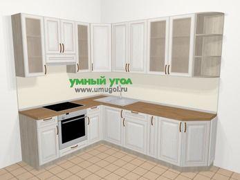 Угловая кухня МДФ патина в классическом стиле 6,8 м², 190 на 250 см, Лиственница белая, верхние модули 92 см, встроенный духовой шкаф