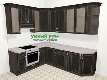 Угловая кухня МДФ патина в классическом стиле 6,8 м², 190 на 250 см, Венге, верхние модули 92 см, встроенный духовой шкаф