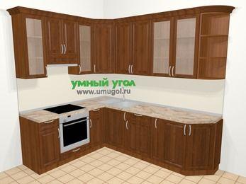 Угловая кухня из массива дерева в классическом стиле 6,8 м², 190 на 250 см, Темно-коричневые оттенки, верхние модули 92 см, встроенный духовой шкаф