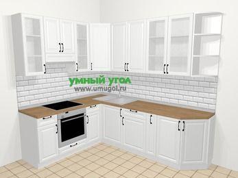 Угловая кухня из массива дерева в скандинавском стиле 6,8 м², 190 на 250 см, Белые оттенки, верхние модули 92 см, встроенный духовой шкаф