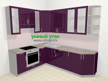 Угловая кухня МДФ глянец в современном стиле 6,8 м², 190 на 250 см, Баклажан, верхние модули 92 см, встроенный духовой шкаф
