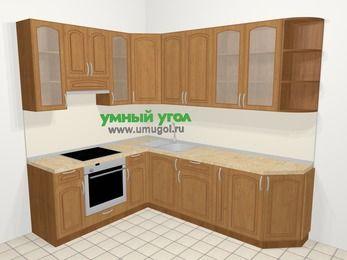 Угловая кухня МДФ патина в классическом стиле 6,8 м², 190 на 250 см, Ольха, верхние модули 92 см, встроенный духовой шкаф