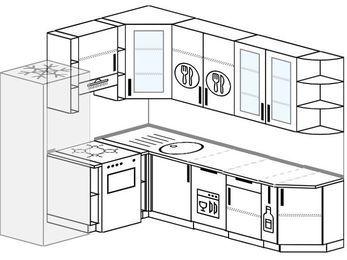 Угловая кухня 6,8 м² (1,9✕2,5 м), верхние модули 92 см, посудомоечная машина, холодильник, отдельно стоящая плита