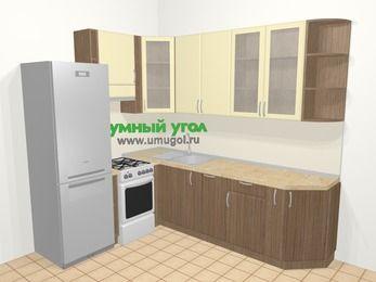 Угловая кухня МДФ матовый в современном стиле 6,8 м², 190 на 250 см, Ваниль / Лиственница бронзовая, верхние модули 92 см, посудомоечная машина, холодильник, отдельно стоящая плита
