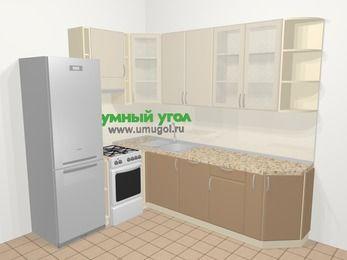 Угловая кухня МДФ матовый в современном стиле 6,8 м², 190 на 250 см, Керамик / Кофе, верхние модули 92 см, посудомоечная машина, холодильник, отдельно стоящая плита