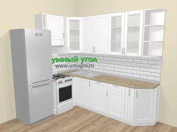 Угловая кухня МДФ матовый  в скандинавском стиле 6,8 м², 190 на 250 см, Белый, верхние модули 92 см, посудомоечная машина, холодильник, отдельно стоящая плита