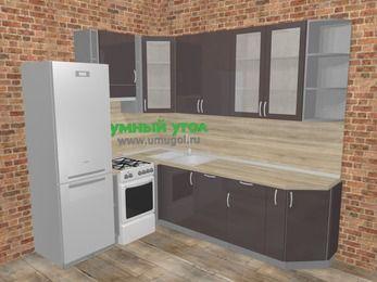 Угловая кухня МДФ глянец в стиле лофт 6,8 м², 190 на 250 см, Шоколад, верхние модули 92 см, посудомоечная машина, холодильник, отдельно стоящая плита