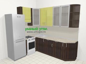 Кухни пластиковые угловые в современном стиле 6,8 м², 190 на 250 см, Желтый Галлион глянец / Дерево Мокка, верхние модули 92 см, посудомоечная машина, холодильник, отдельно стоящая плита