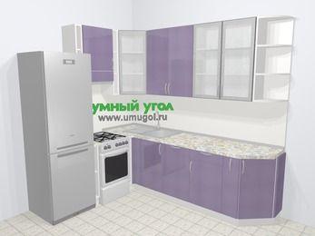 Кухни пластиковые угловые в современном стиле 6,8 м², 190 на 250 см, Сиреневый глянец, верхние модули 92 см, посудомоечная машина, холодильник, отдельно стоящая плита