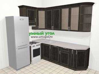 Угловая кухня МДФ патина в классическом стиле 6,8 м², 190 на 250 см, Венге, верхние модули 92 см, посудомоечная машина, холодильник, отдельно стоящая плита