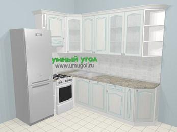 Угловая кухня МДФ патина в стиле прованс 6,8 м², 190 на 250 см, Лиственница белая, верхние модули 92 см, посудомоечная машина, холодильник, отдельно стоящая плита