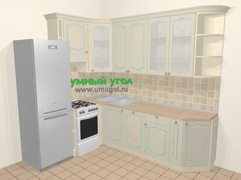 Угловая кухня МДФ патина в стиле прованс 6,8 м², 190 на 250 см, Керамик, верхние модули 92 см, посудомоечная машина, холодильник, отдельно стоящая плита