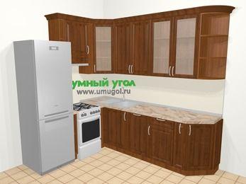 Угловая кухня из массива дерева в классическом стиле 6,8 м², 190 на 250 см, Темно-коричневые оттенки, верхние модули 92 см, посудомоечная машина, холодильник, отдельно стоящая плита