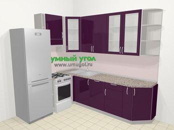 Угловая кухня МДФ глянец в современном стиле 6,8 м², 190 на 250 см, Баклажан, верхние модули 92 см, посудомоечная машина, холодильник, отдельно стоящая плита