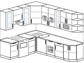 Угловая кухня 6,8 м² (1,9✕2,5 м), верхние модули 92 см, посудомоечная машина, модуль под свч, отдельно стоящая плита