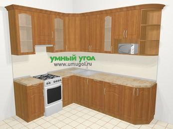Угловая кухня МДФ матовый в классическом стиле 6,8 м², 190 на 250 см, Вишня, верхние модули 92 см, посудомоечная машина, модуль под свч, отдельно стоящая плита