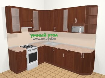Угловая кухня МДФ матовый в классическом стиле 6,8 м², 190 на 250 см, Вишня темная, верхние модули 92 см, посудомоечная машина, модуль под свч, отдельно стоящая плита