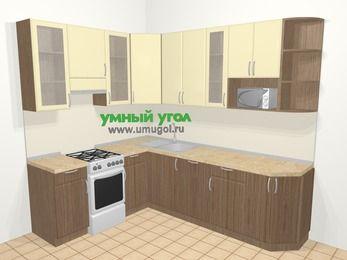 Угловая кухня МДФ матовый в современном стиле 6,8 м², 190 на 250 см, Ваниль / Лиственница бронзовая, верхние модули 92 см, посудомоечная машина, модуль под свч, отдельно стоящая плита