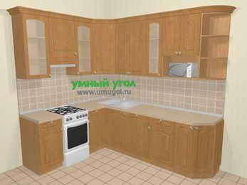 Угловая кухня МДФ матовый в стиле кантри 6,8 м², 190 на 250 см, Ольха, верхние модули 92 см, посудомоечная машина, модуль под свч, отдельно стоящая плита