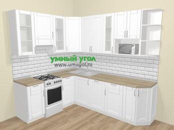Угловая кухня МДФ матовый  в скандинавском стиле 6,8 м², 190 на 250 см, Белый, верхние модули 92 см, посудомоечная машина, модуль под свч, отдельно стоящая плита