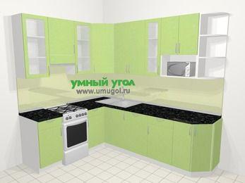 Угловая кухня МДФ металлик в современном стиле 6,8 м², 190 на 250 см, Салатовый металлик, верхние модули 92 см, посудомоечная машина, модуль под свч, отдельно стоящая плита