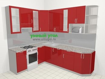 Угловая кухня МДФ глянец в современном стиле 6,8 м², 190 на 250 см, Красный, верхние модули 92 см, посудомоечная машина, модуль под свч, отдельно стоящая плита