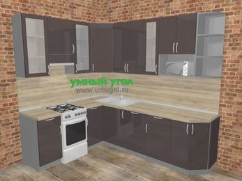 Угловая кухня МДФ глянец в стиле лофт 6,8 м², 190 на 250 см, Шоколад, верхние модули 92 см, посудомоечная машина, модуль под свч, отдельно стоящая плита