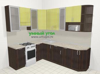 Кухни пластиковые угловые в современном стиле 6,8 м², 190 на 250 см, Желтый Галлион глянец / Дерево Мокка, верхние модули 92 см, посудомоечная машина, модуль под свч, отдельно стоящая плита