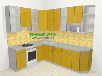 Кухни пластиковые угловые в современном стиле 6,8 м², 190 на 250 см, Желтый глянец, верхние модули 92 см, посудомоечная машина, модуль под свч, отдельно стоящая плита