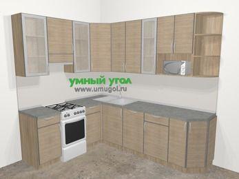 Кухни пластиковые угловые в стиле лофт 6,8 м², 190 на 250 см, Чибли бежевый, верхние модули 92 см, посудомоечная машина, модуль под свч, отдельно стоящая плита