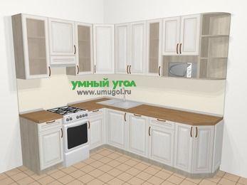 Угловая кухня МДФ патина в классическом стиле 6,8 м², 190 на 250 см, Лиственница белая, верхние модули 92 см, посудомоечная машина, модуль под свч, отдельно стоящая плита