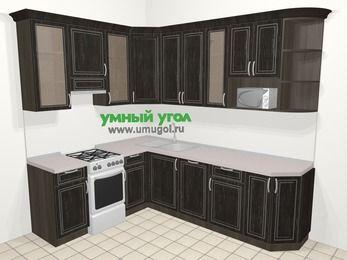 Угловая кухня МДФ патина в классическом стиле 6,8 м², 190 на 250 см, Венге, верхние модули 92 см, посудомоечная машина, модуль под свч, отдельно стоящая плита