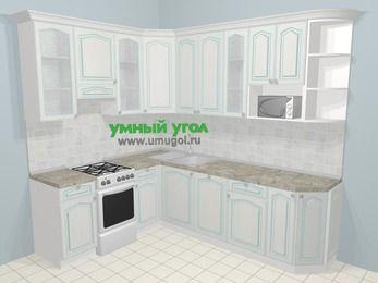 Угловая кухня МДФ патина в стиле прованс 6,8 м², 190 на 250 см, Лиственница белая, верхние модули 92 см, посудомоечная машина, модуль под свч, отдельно стоящая плита