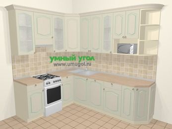 Угловая кухня МДФ патина в стиле прованс 6,8 м², 190 на 250 см, Керамик, верхние модули 92 см, посудомоечная машина, модуль под свч, отдельно стоящая плита