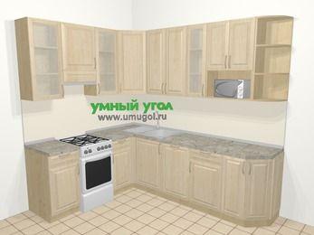 Угловая кухня из массива дерева в классическом стиле 6,8 м², 190 на 250 см, Светло-коричневые оттенки, верхние модули 92 см, посудомоечная машина, модуль под свч, отдельно стоящая плита