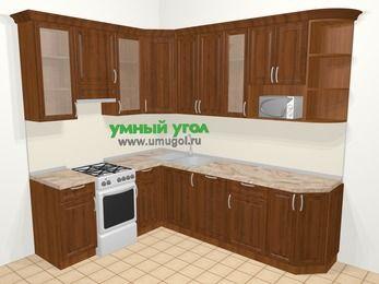 Угловая кухня из массива дерева в классическом стиле 6,8 м², 190 на 250 см, Темно-коричневые оттенки, верхние модули 92 см, посудомоечная машина, модуль под свч, отдельно стоящая плита