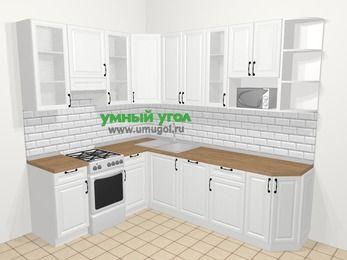 Угловая кухня из массива дерева в скандинавском стиле 6,8 м², 190 на 250 см, Белые оттенки, верхние модули 92 см, посудомоечная машина, модуль под свч, отдельно стоящая плита