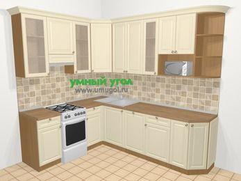 Угловая кухня из массива дерева в стиле кантри 6,8 м², 190 на 250 см, Бежевые оттенки, верхние модули 92 см, посудомоечная машина, модуль под свч, отдельно стоящая плита