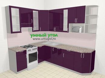 Угловая кухня МДФ глянец в современном стиле 6,8 м², 190 на 250 см, Баклажан, верхние модули 92 см, посудомоечная машина, модуль под свч, отдельно стоящая плита