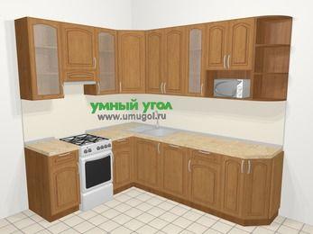Угловая кухня МДФ патина в классическом стиле 6,8 м², 190 на 250 см, Ольха, верхние модули 92 см, посудомоечная машина, модуль под свч, отдельно стоящая плита