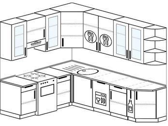 Угловая кухня 6,8 м² (1,9✕2,5 м), верхние модули 92 см, посудомоечная машина, отдельно стоящая плита