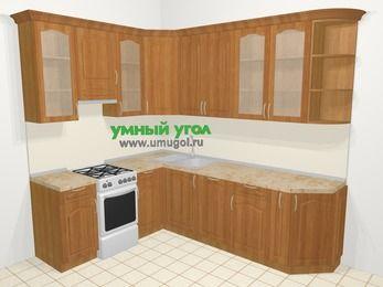 Угловая кухня МДФ матовый в классическом стиле 6,8 м², 190 на 250 см, Вишня, верхние модули 92 см, посудомоечная машина, отдельно стоящая плита