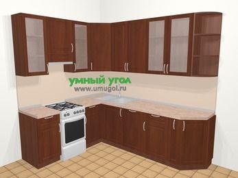 Угловая кухня МДФ матовый в классическом стиле 6,8 м², 190 на 250 см, Вишня темная, верхние модули 92 см, посудомоечная машина, отдельно стоящая плита