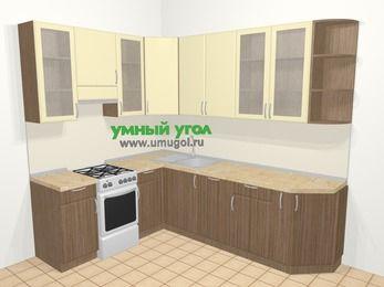 Угловая кухня МДФ матовый в современном стиле 6,8 м², 190 на 250 см, Ваниль / Лиственница бронзовая, верхние модули 92 см, посудомоечная машина, отдельно стоящая плита