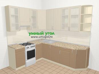 Угловая кухня МДФ матовый в современном стиле 6,8 м², 190 на 250 см, Керамик / Кофе, верхние модули 92 см, посудомоечная машина, отдельно стоящая плита