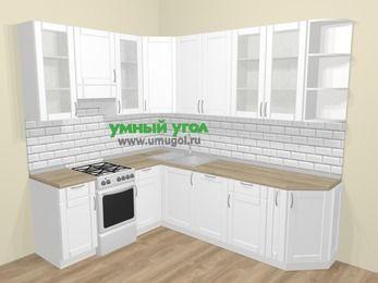 Угловая кухня МДФ матовый  в скандинавском стиле 6,8 м², 190 на 250 см, Белый, верхние модули 92 см, посудомоечная машина, отдельно стоящая плита