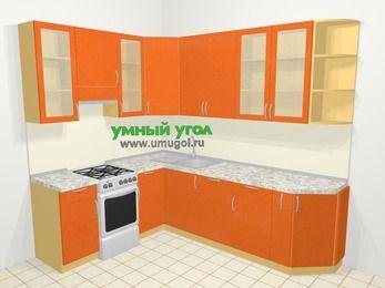 Угловая кухня МДФ металлик в современном стиле 6,8 м², 190 на 250 см, Оранжевый металлик, верхние модули 92 см, посудомоечная машина, отдельно стоящая плита