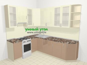 Угловая кухня МДФ глянец в современном стиле 6,8 м², 190 на 250 см, Жасмин / Капучино, верхние модули 92 см, посудомоечная машина, отдельно стоящая плита
