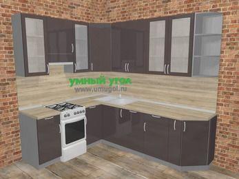 Угловая кухня МДФ глянец в стиле лофт 6,8 м², 190 на 250 см, Шоколад, верхние модули 92 см, посудомоечная машина, отдельно стоящая плита